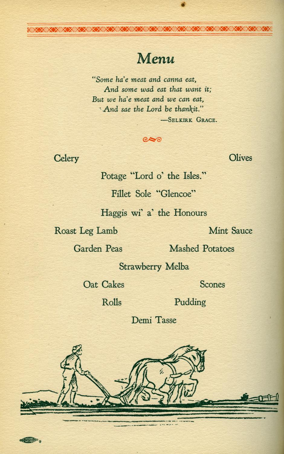 "The menu from the dinner after the unveiling. From ""Vancouver's Tribute to Burns"", 1928, reference code PR 4331 R24."
