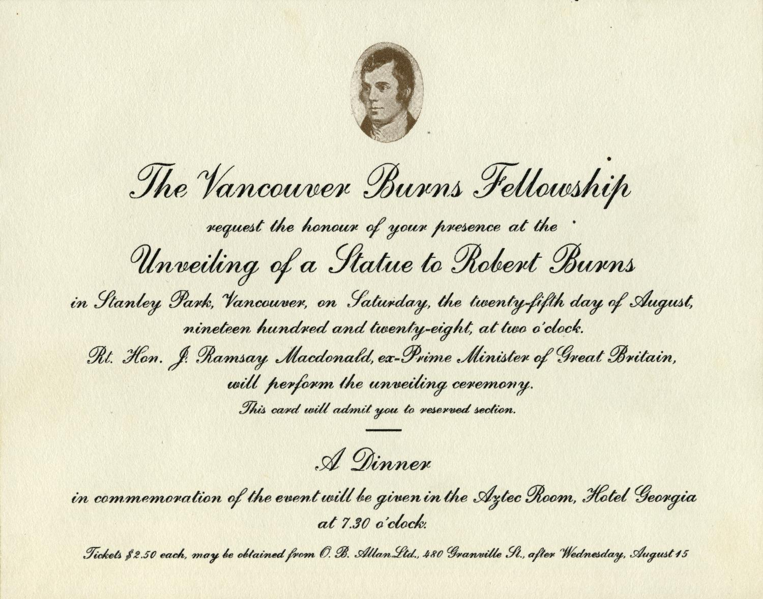 "Invitation to the unveiling and the dinner at the Aztec Room of the Hotel Georgia. From the file ""Societies - Vancouver Burns Fellowship"" in reference code AM54-S23-1."