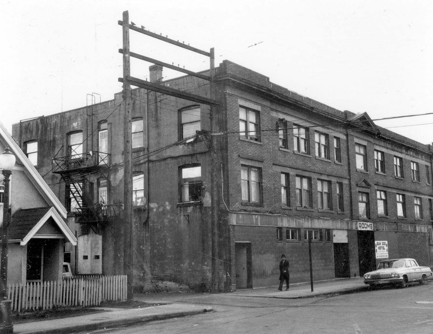 800 - 804 Main Street, 1968. Photograph shows the back of the building and 208 - 214 Union Street. Reference code COV-S168-: CVA 203-11