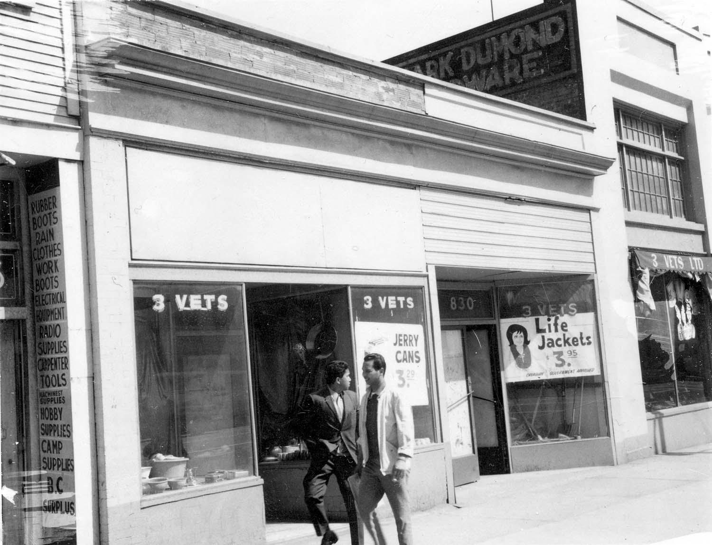 828 - 830 Main Street, front, 1969. Photograph shows 3 Vets (830 Main Street and 832 Main Street). Reference code COV-S168-: CVA 203-16