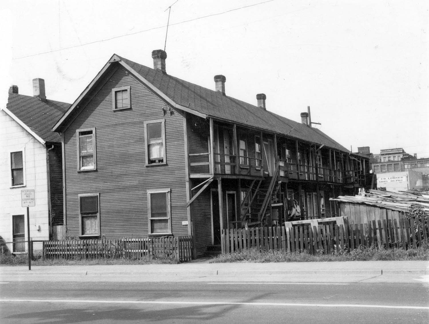 259 Prior Street. Chou Doely Gam cabins front, 1968. Reference code COV-S168-: CVA 203-28