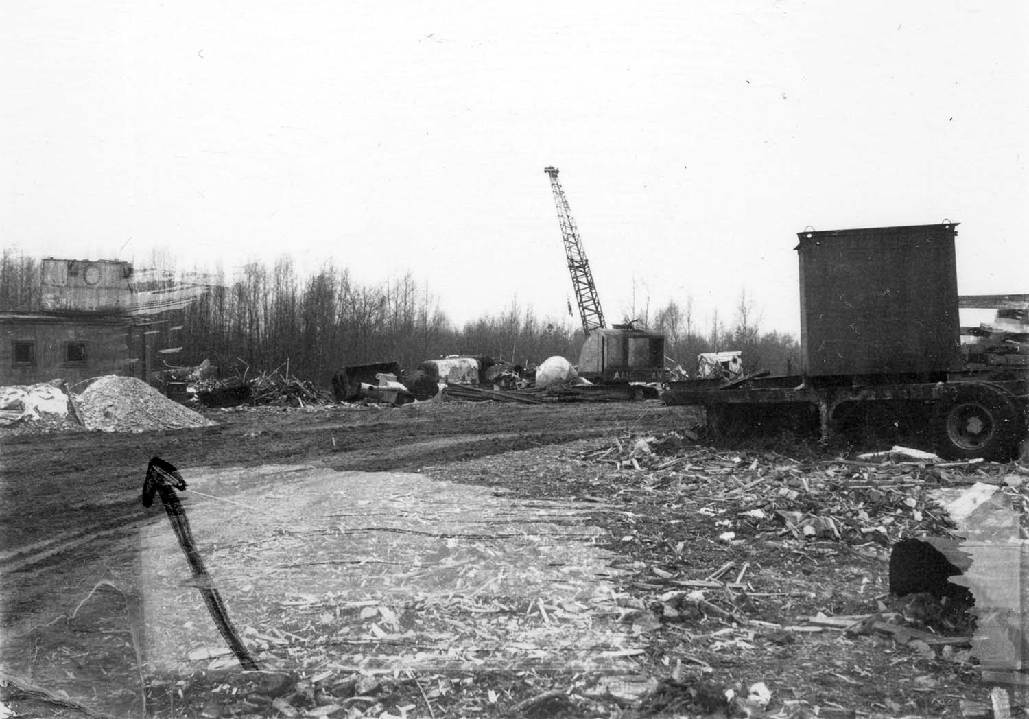 200 block Prior Street N/S and 200 block Union Street S/S, Nov. 14, 1969. Arrow on photograph indicates gravel dumped by A.B.C. Salvage Truck. Reference code COV-S168-: CVA 203-31