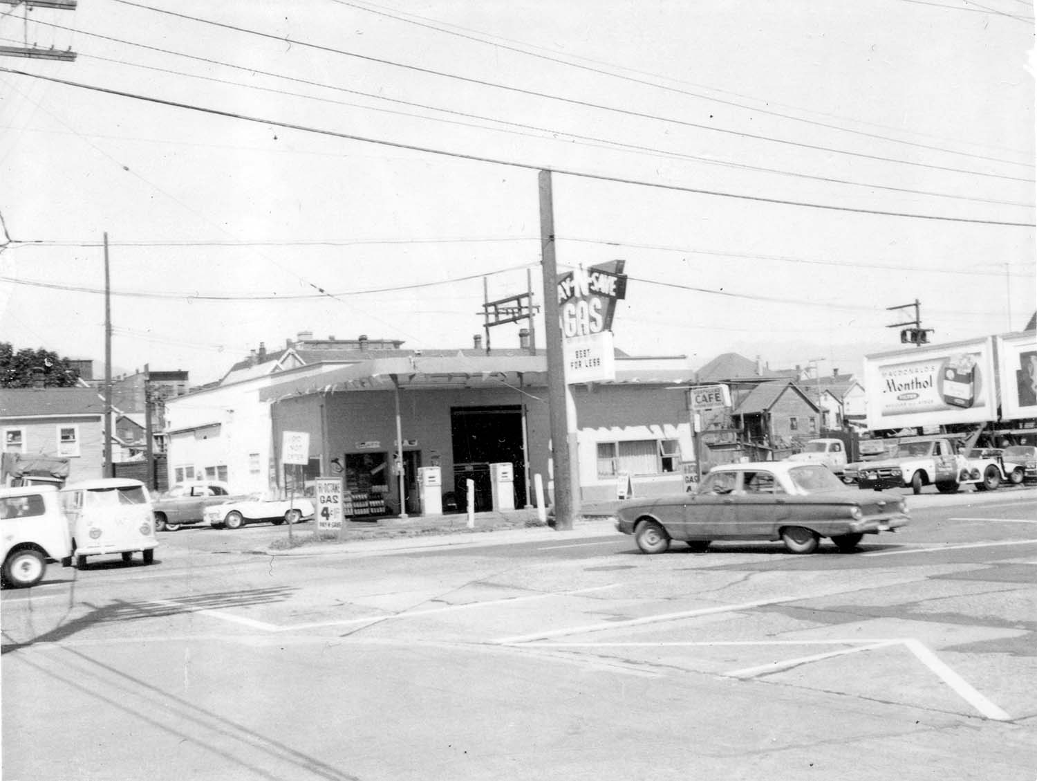 219 and 221 Prior Street, 1969. Photograph shows the Iberica Garage and the Northland Cafe. Reference code COV-S168-: CVA 203-62