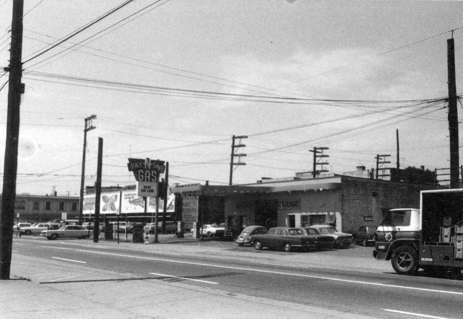 Iberica Garage and Northland Cafe 219 - 221 Prior Street as seen looking northwest across Prior Street, 1969. Reference code COV-S168-: CVA 203-55