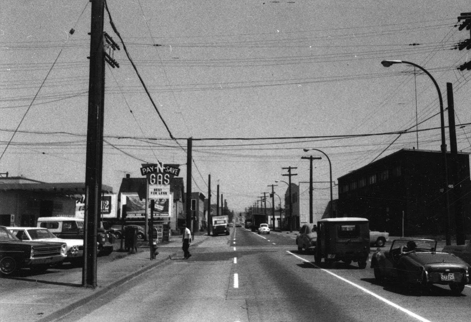 Aspect looking east along Prior Street with subject property [Iberica Garage and Northland Cafe 219 - 221 Prior Street] on left side, 1969. Reference code COV-S168-: CVA 203-58