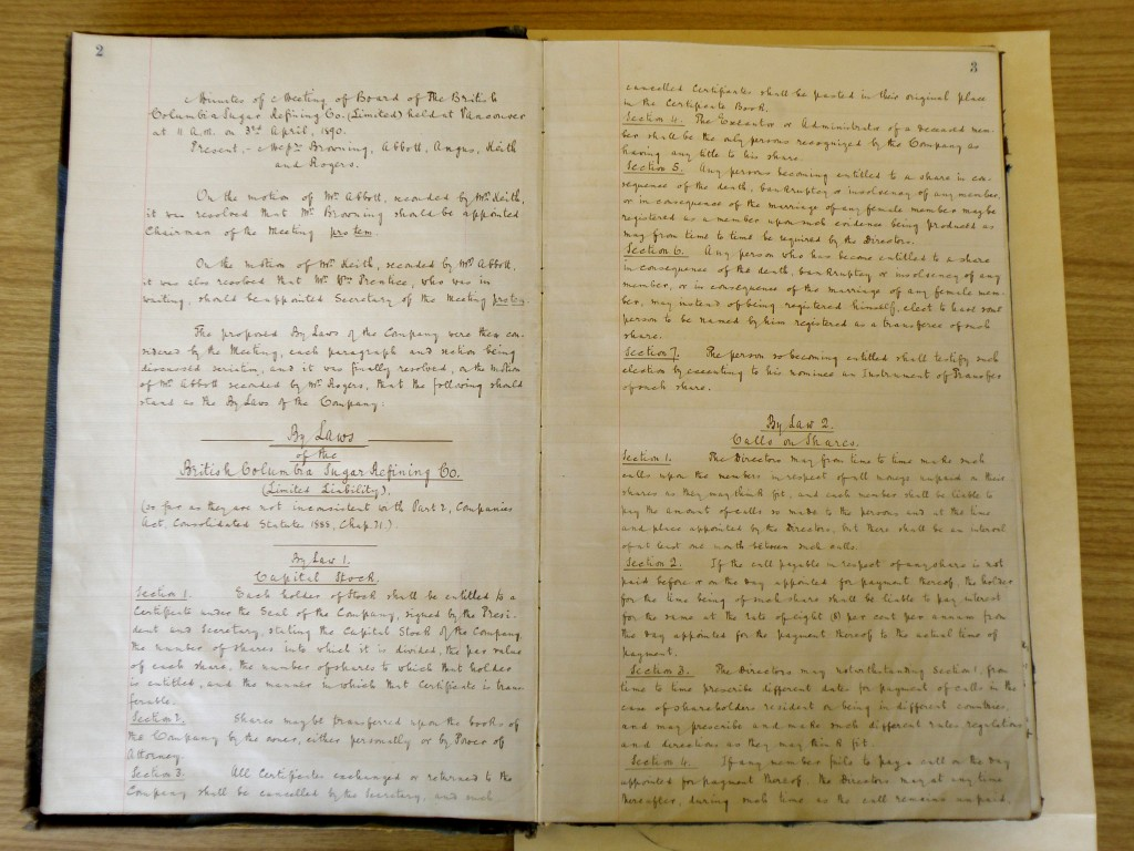 First two pages of the Minutes of the first Board Meeting of the British Columbia Sugar Refining Company, Limited, April 11, 1890. Reference code AM1592-S1-2-F1.