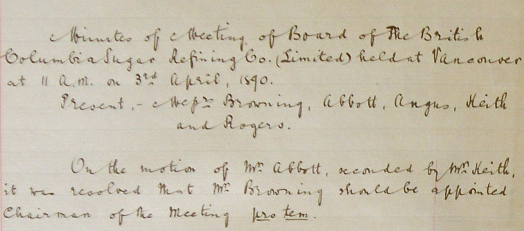 Detail from the first page of the meeting above, reference code AM1592-S1-2-F1.