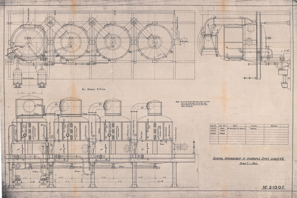 """Apparatus for evaporation of beet juices in beet sugar manufacture, """"General Arrangement of Quadruple Effet 10,000 [square foot] H.S."""", The Mirrlees Watson Company Limited, 1905 (copied 197-?). Reference code: AM1592-S17-: 2011-092.6747."""