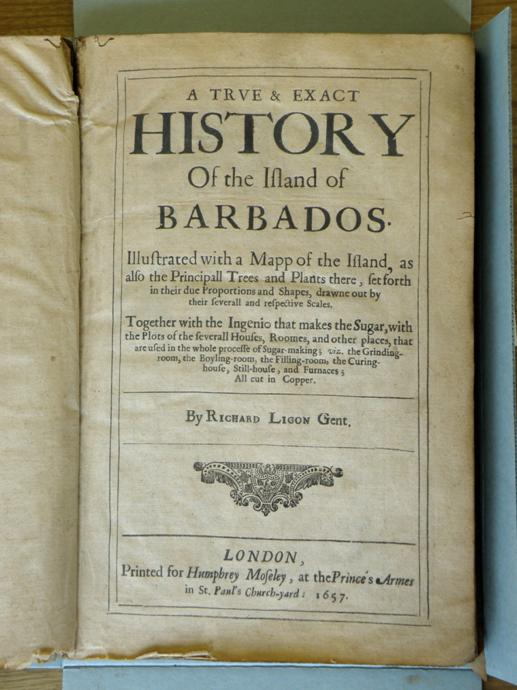 A true and exact history of the Island of Barbados, Richard Ligon, 1657. Reference code: AM1592-S22-F12.