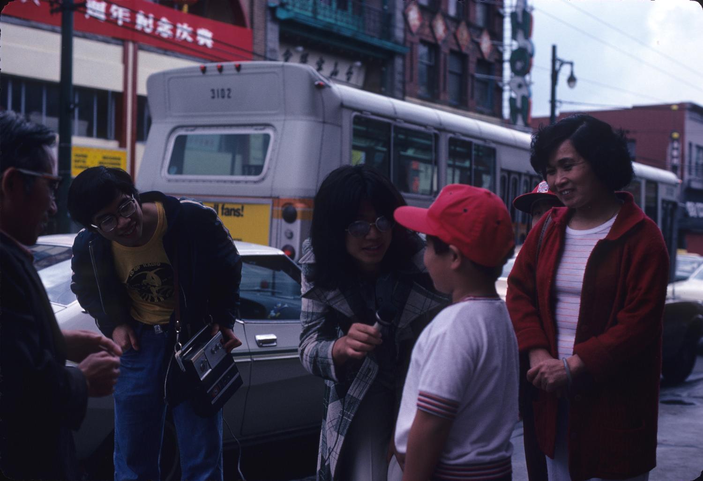 Pender Guy volunteers interviewing people on Pender Street. Photographer:  Paul Yee. Reference code AM1523-S6-F68-: 2008-010.0428.