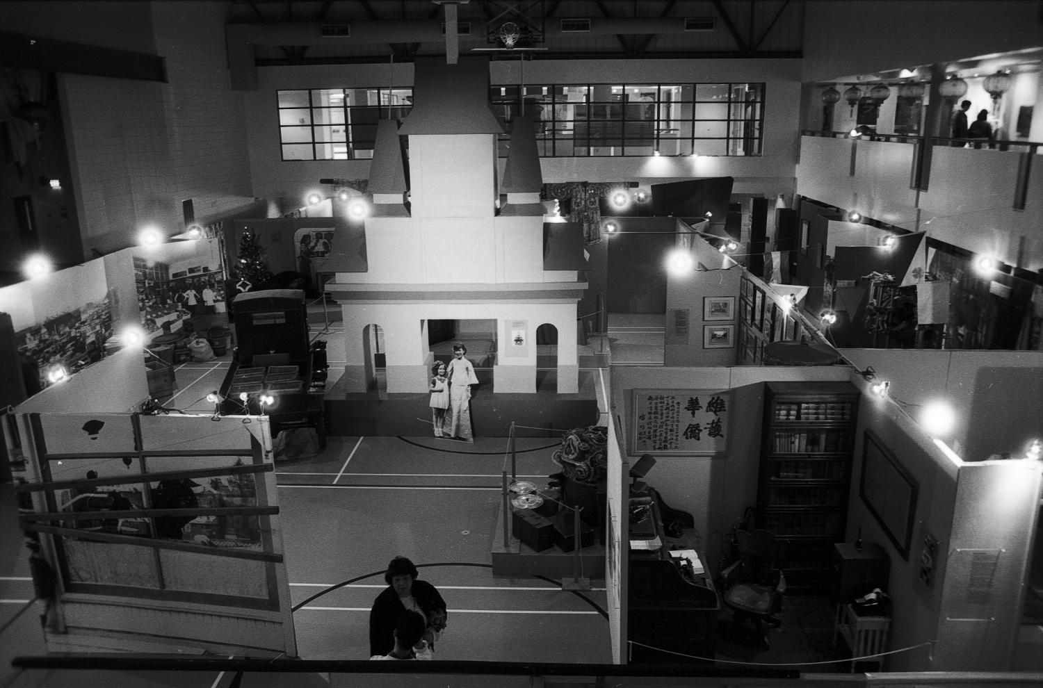 The Saltwater City exhibit viewed from the second floor of the Chinese Cultural Centre in 1986. Photographer:  Paul Yee. Reference code AM1523-S6-F28-: 2008-010.1567.