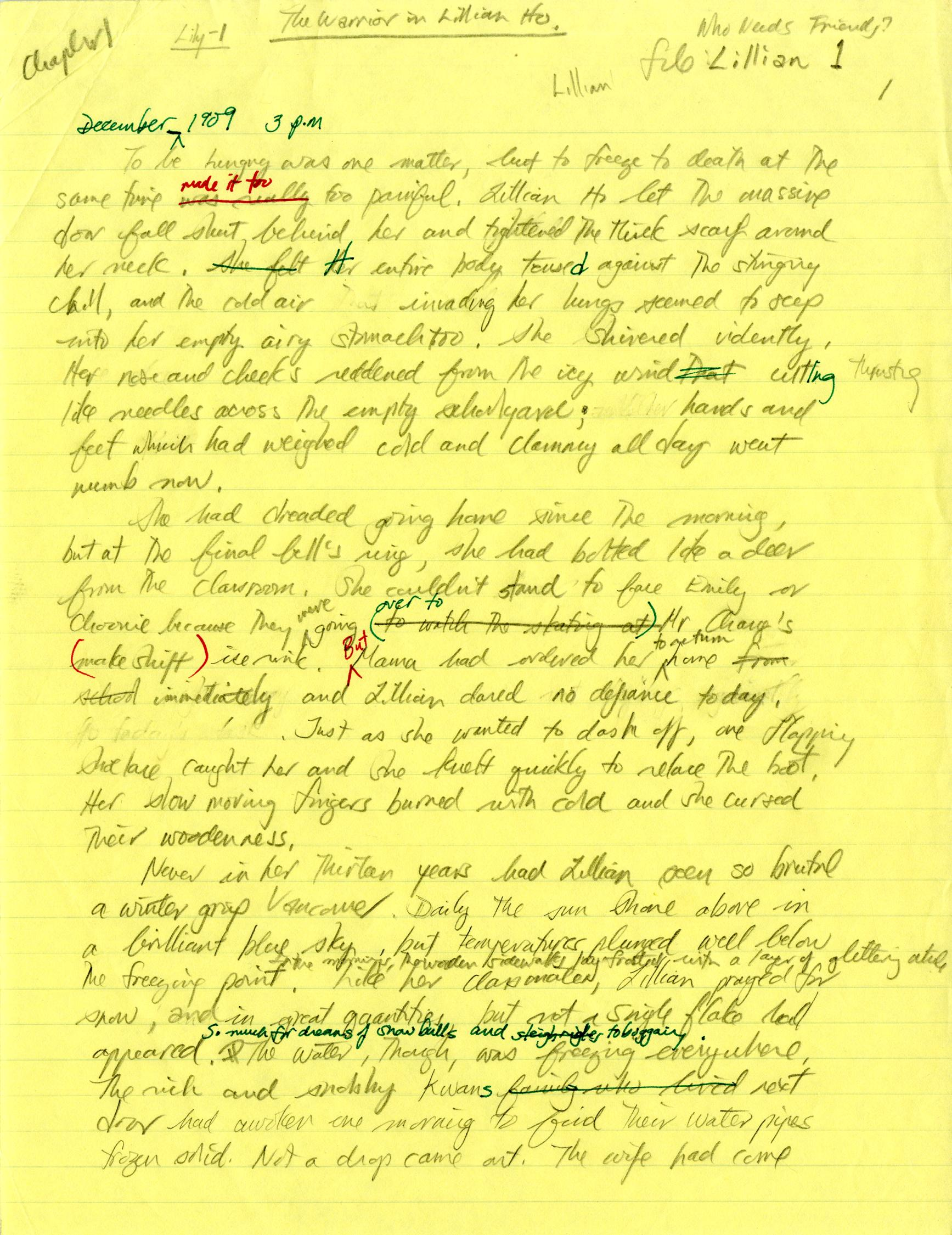 The first page of an early handwritten draft of Chapter 1 of The Curses of Third Uncle. This draft was likely written in 1984.