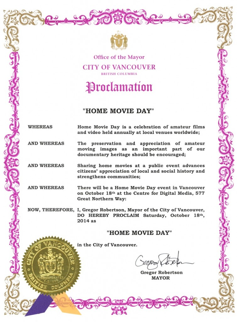 Home Movie day 2014 proclamation, City of Vancouver