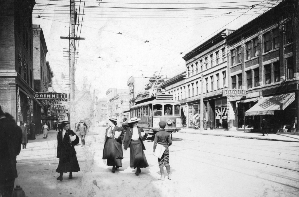 Archival photograph selected by Michelle MacDonald for the Merging Time assignment. Granville Street looking north from Robson Street, 1900s. Reference code: AM54-S4-: Str P32.