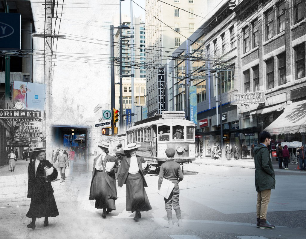 Digital composite by Michelle MacDonald, 1900s/2014. Granville Street looking north from Robson Street, incorporating City of Vancouver Archives image AM54-S4-: Str P32.