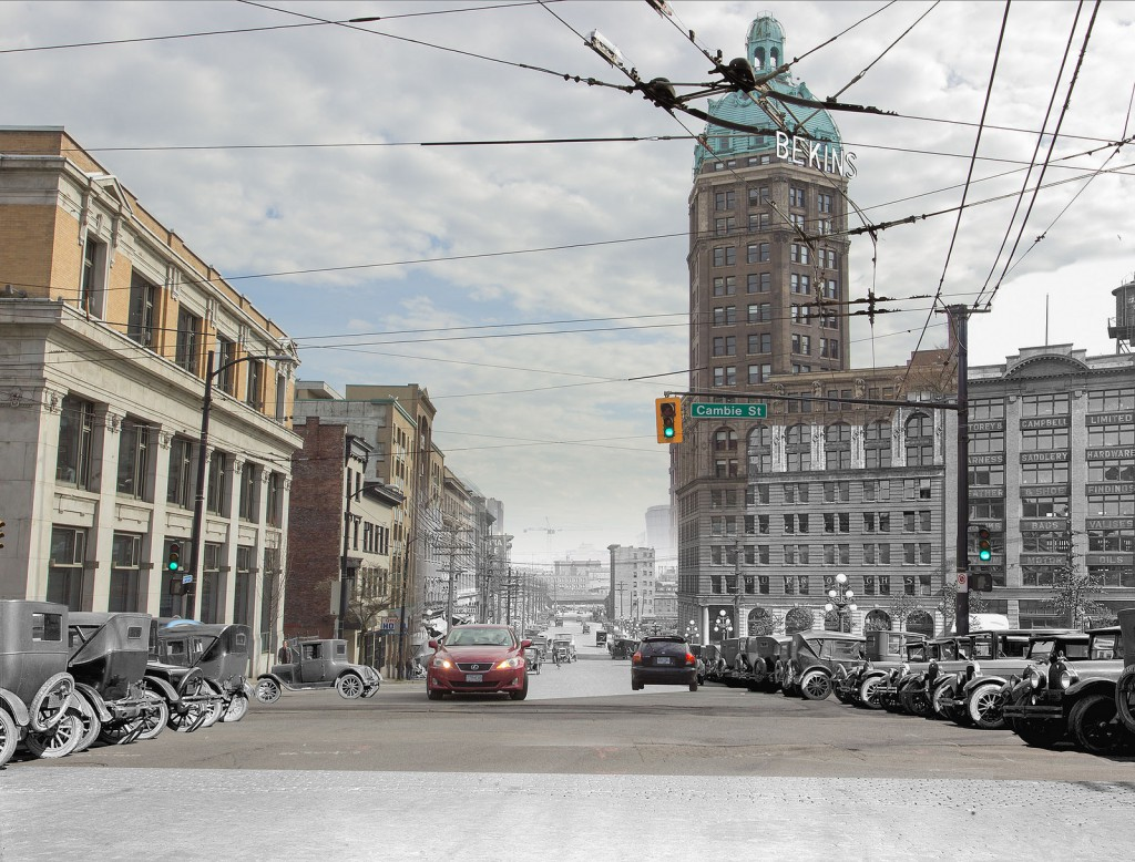 Digital composite by Warin Rychkun, 1927/2014. View of Pender Street east of Cambie Street, showing the Sun Tower, incorporating City of Vancouver Archives image AM54-S4-: Str N164.