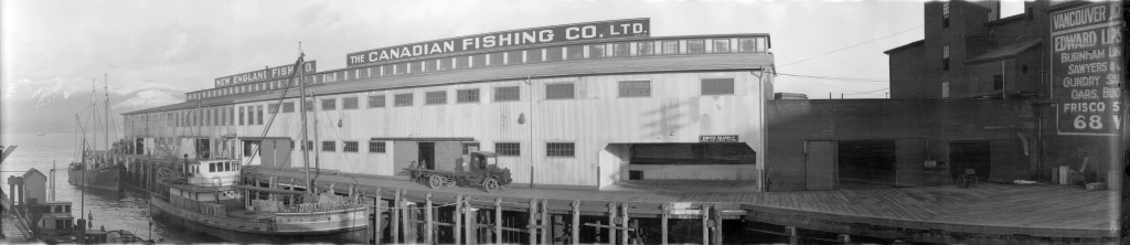 The Canadian Fishing Co. Ltd. and New England Fish Co. building on the Gore Avenue Wharf, 1920. Reference Code: AM54-S4-3-: PAN N163