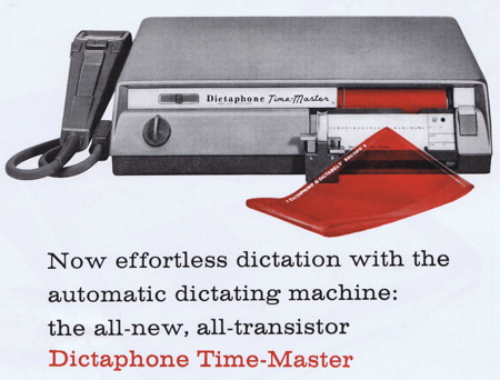 Ad for one model of Dictaphone Dictabelt. Image from http://www.creativepro.com/content/scanning-around-gene-funny-doesn-t-sound-me