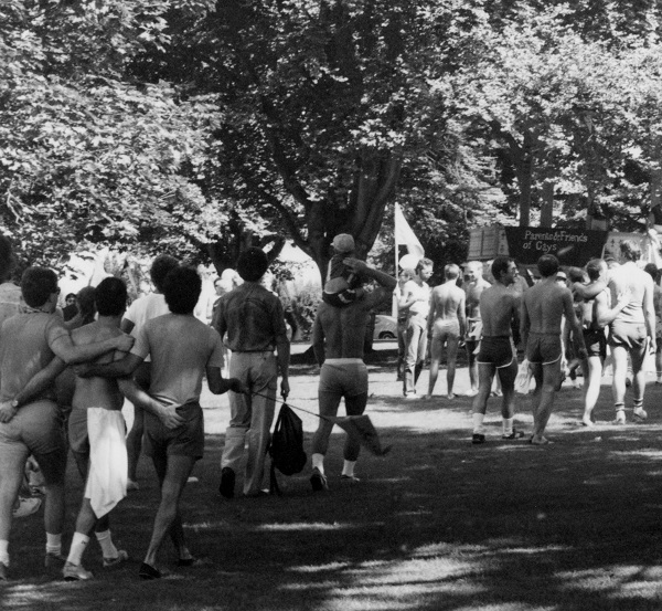 End of parade route in Alexandra Park, 1981 or 1982. Detail from AM1675-S4-F43-: 2018-020.7499