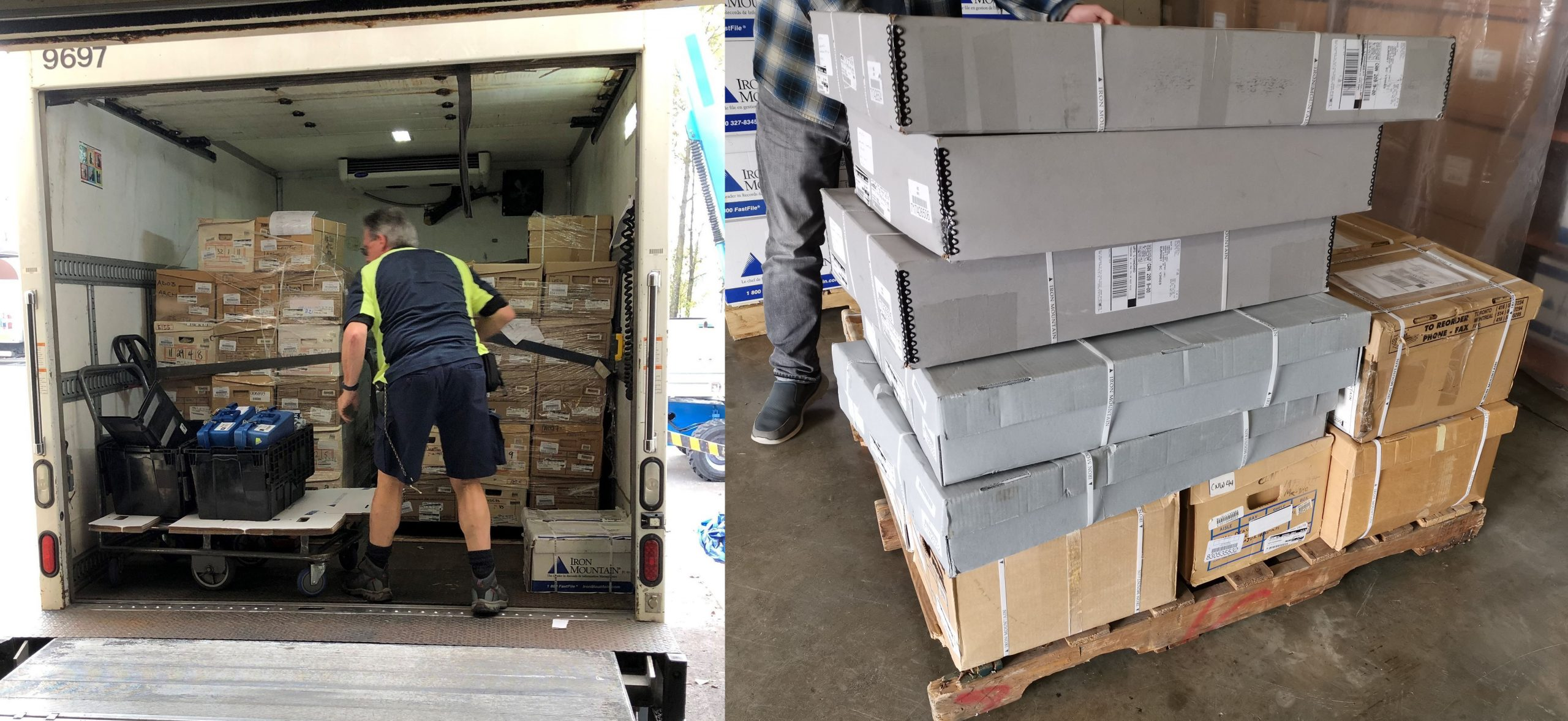 A large donation of private-sector records arriving at the Archives. Photo by Paola Merkins