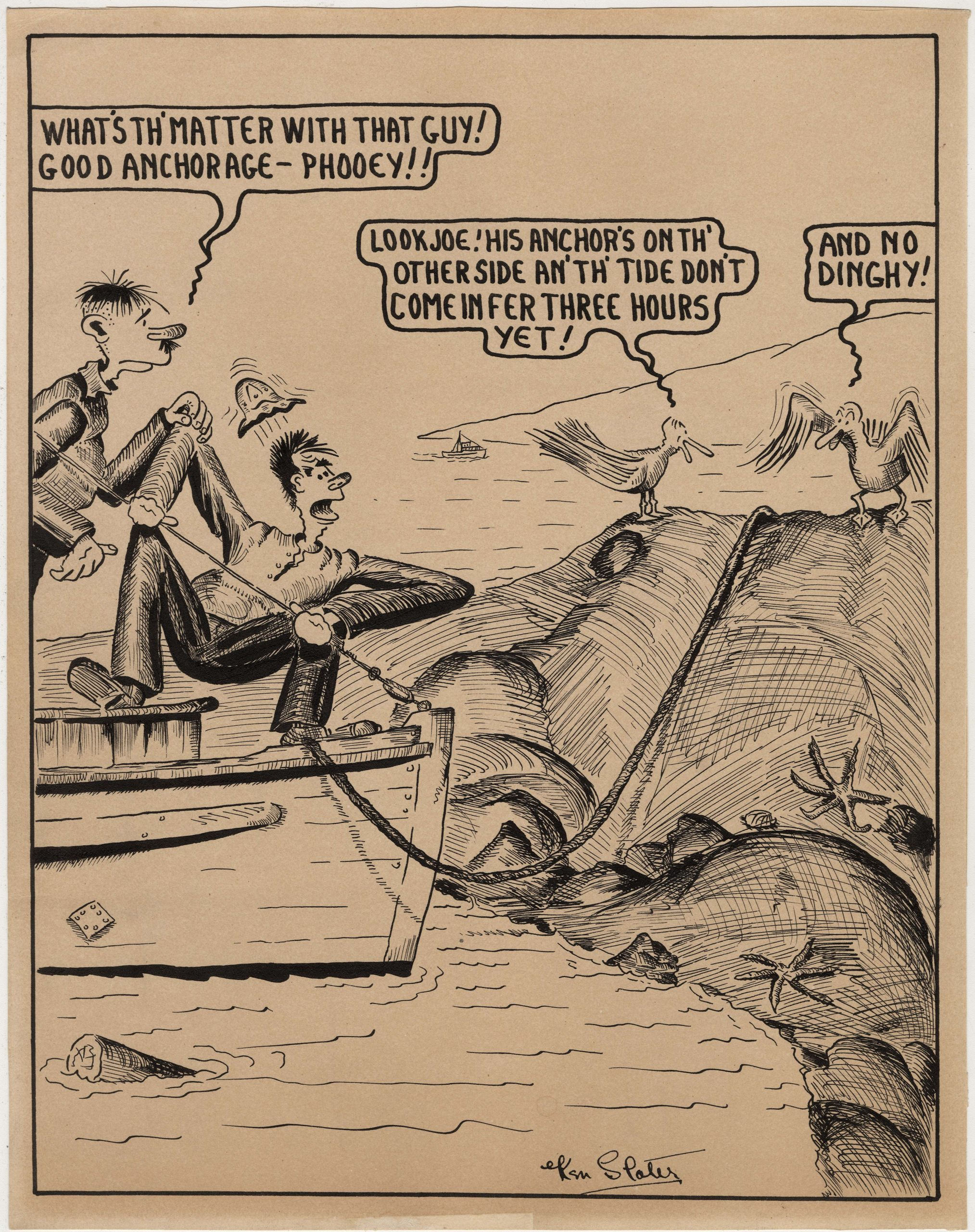 Cartoon About Good Anchorage, by Ken Slater. 1940s. AM1562-: 86-38