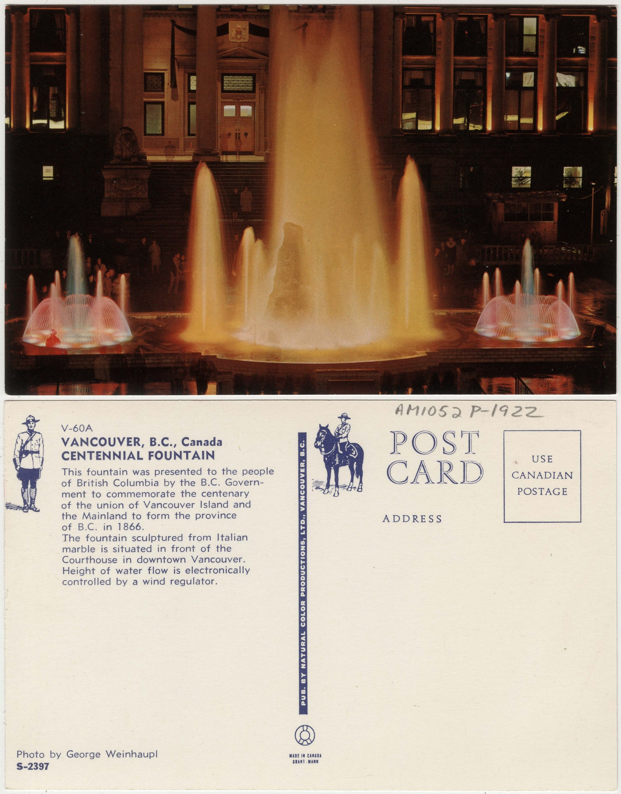 Vancouver, B.C., Canada : Centennial Fountain, about 1970. Reference code AM1052-: AM1052 P-1922