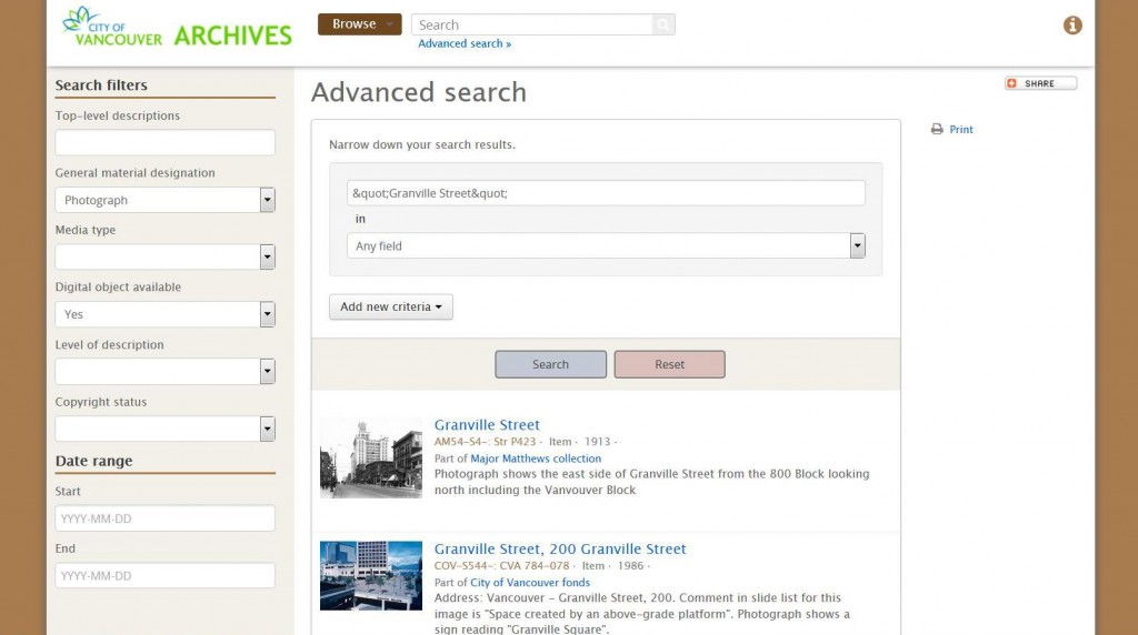Advanced search results screen.
