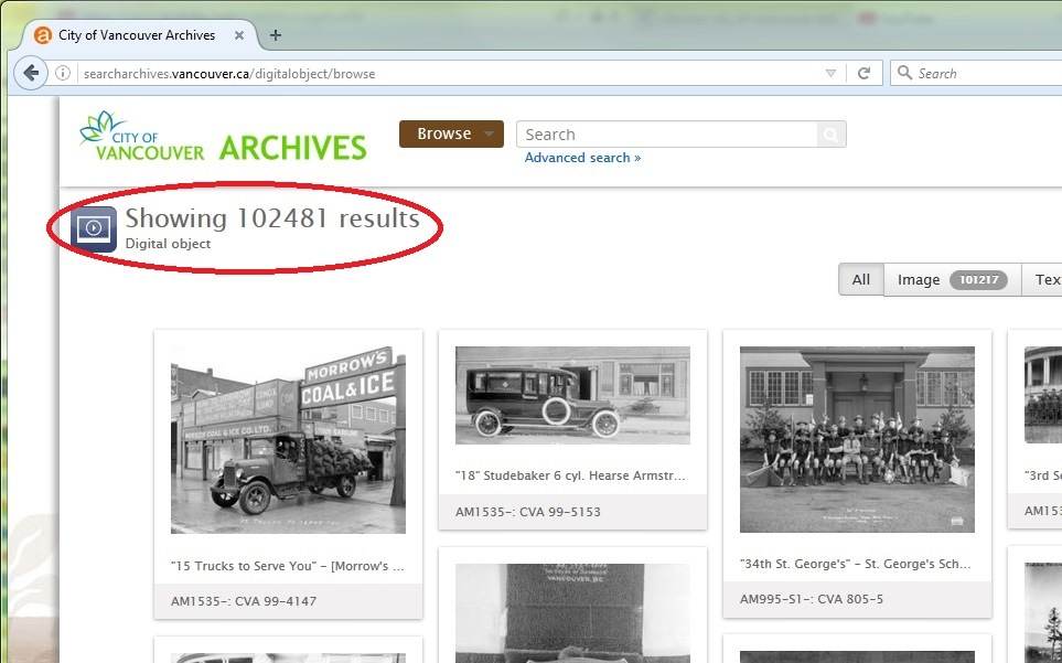 Screenshot of Browse Digital Objects result on searcharchives.vancouver.ca