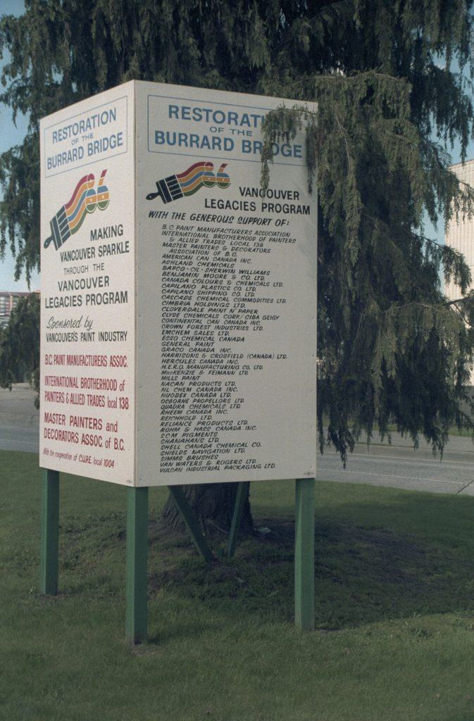 Signboard showing sponsor names for the restoration of the Burrard Bridge, 1986 or 1987. Reference code: COV-S477-3-F111-: CVA 775-131