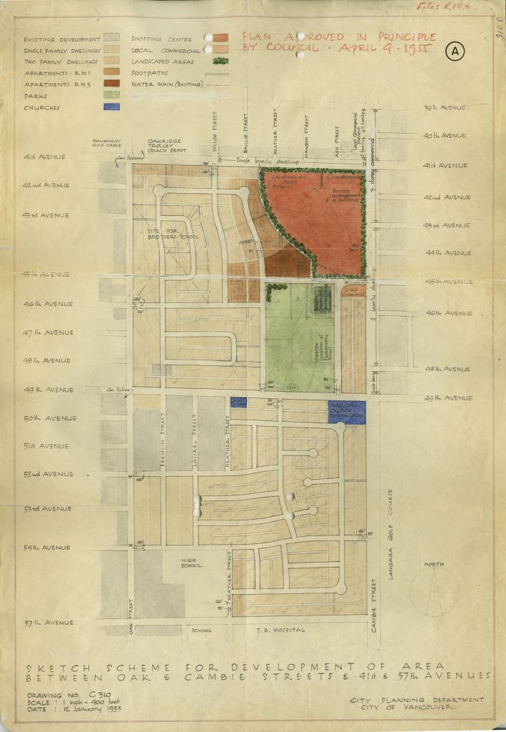 Map of the initial 1955 development scheme for the Oakridge Mall and adjacent areas to the south and west. From file COV-S648-F0643