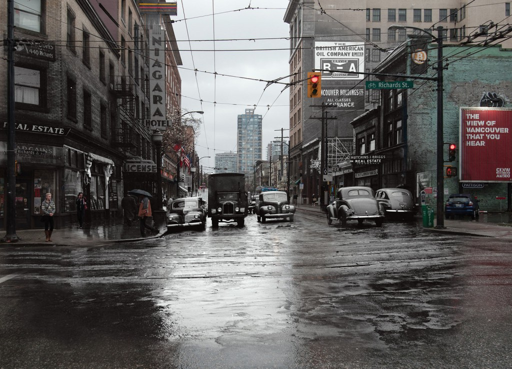 Digital composite by Courtney Naesgaard, 1946/2015. Street traffic at Pender Street and Richards Street, incorporating Archives image AM1545-S3-: CVA 586-4225.