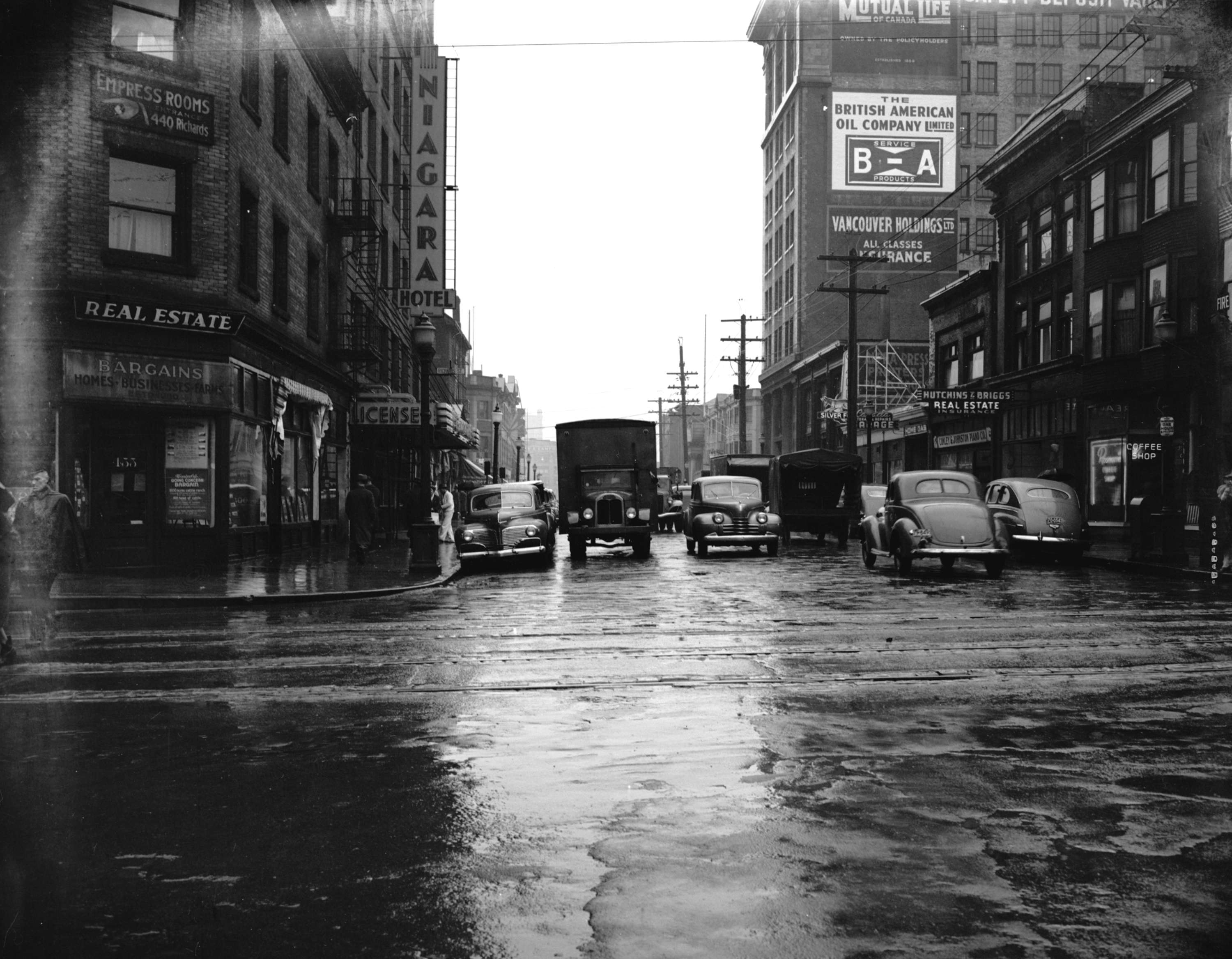 Archival photograph selected by courtney naesgaard for the merging time exhibit street traffic at pender