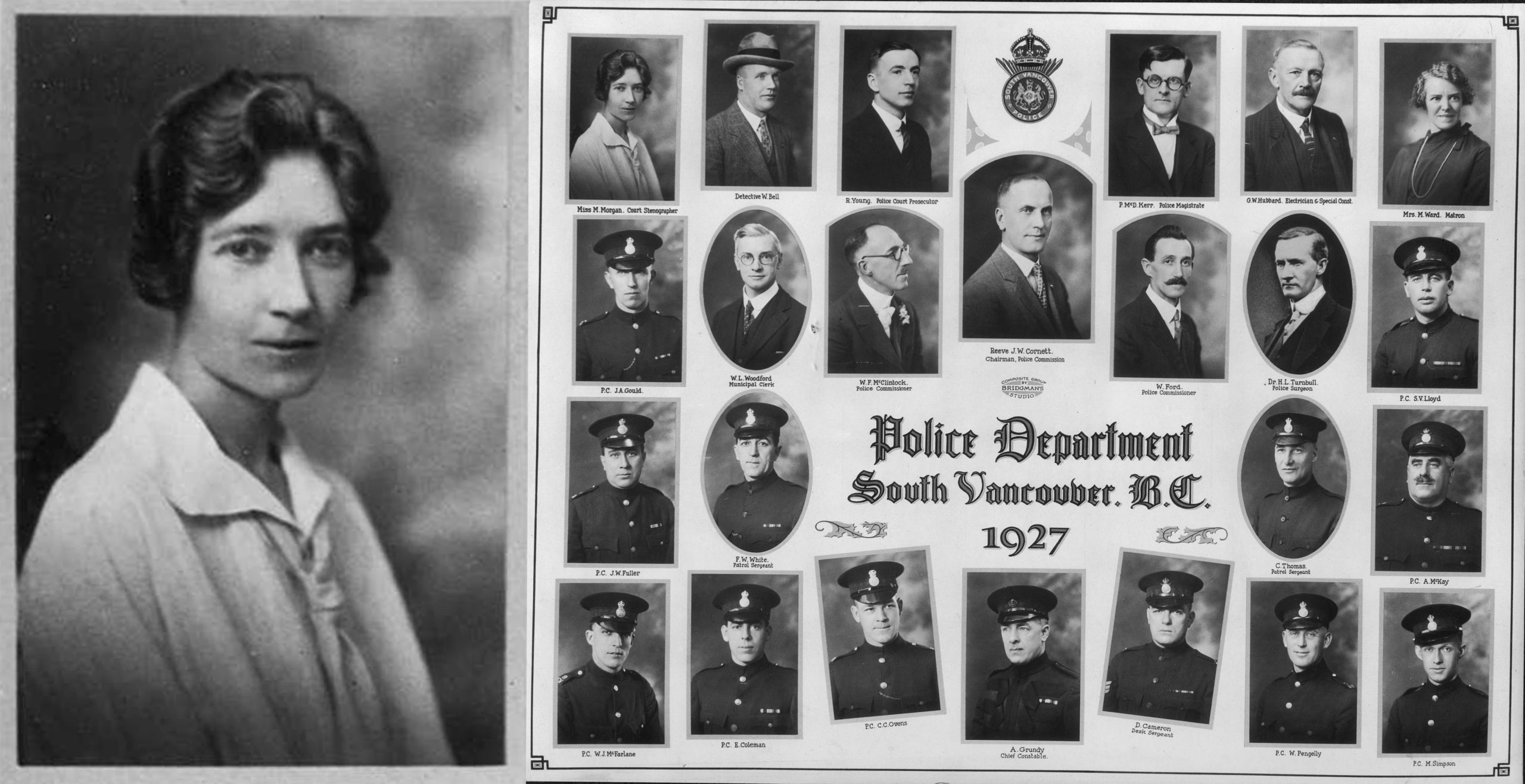 The portrait on the left shows Mary Morgan, Court Stenographer. This image is part of a composite photograph (right) showing employee portraits of the South Vancouver Police Department in 1927. Reference code: VPD-S214-: CVA 480-123