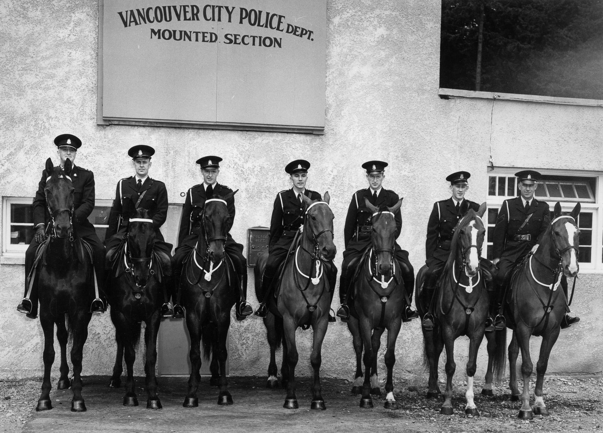 Vancouver Mounted Police officers on horseback. Reference code: VPD-S214-: CVA 480-190