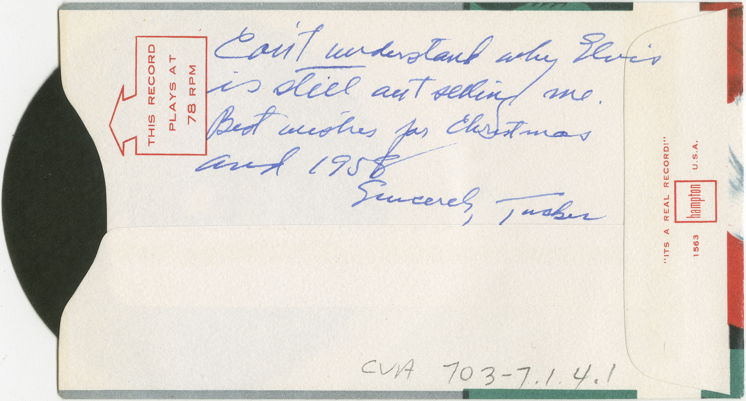 Back of card from Tucker Battle to the Hamber family. Identifier : CVA 703-7.1.4.2