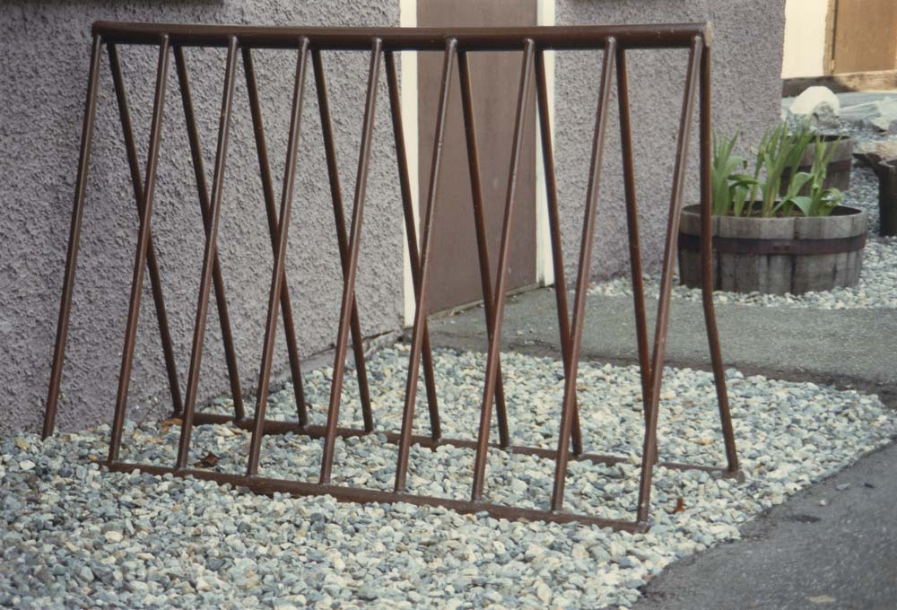 1980s-style bike racks, a Vancouver Legacies project. Identifier CVA 775-3.