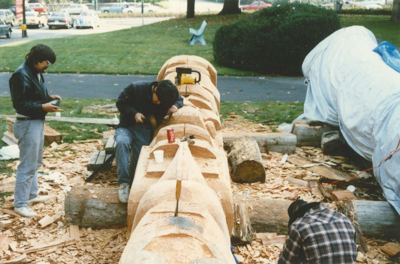 Totem pole carving in progress. A Vancouver Legacies project. Identifier CVA 775-9.1.