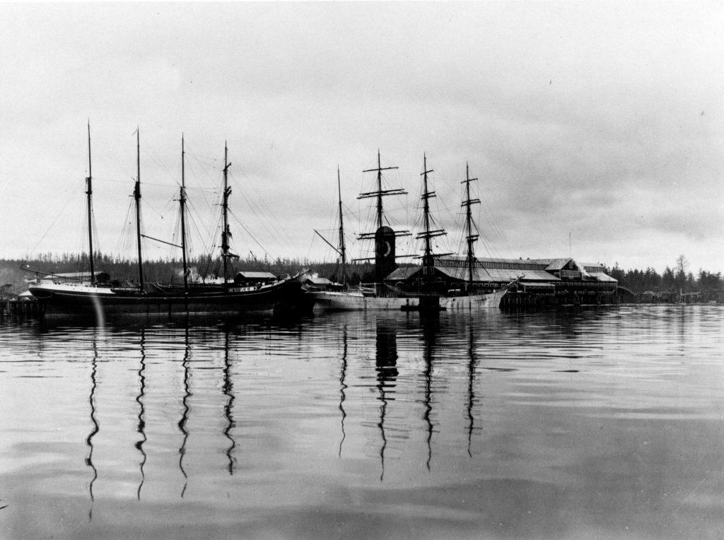 Sawmill and ships at Fraser Mills, ca. 1900. Reference code: AM1376-: CVA 91-1