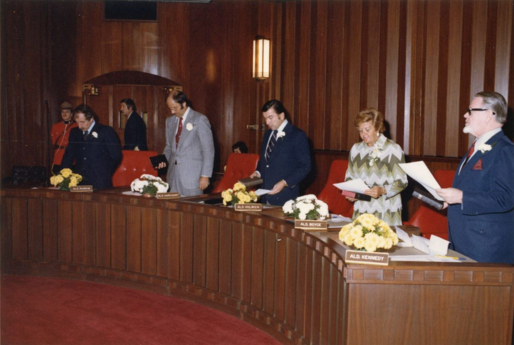 Alderpersons Rankin, Harcourt, Volrich, Boyce and Kennedy at inaugural Council meeting, 1975. Reference code COV-S532-F01-: CVA 93-5