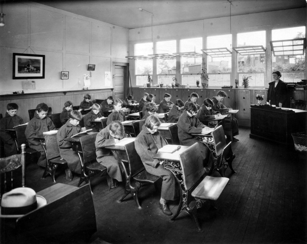 Chilly children in Open Air School classroom, ca. 1926. Reference code: AM1376-: CVA 96-3