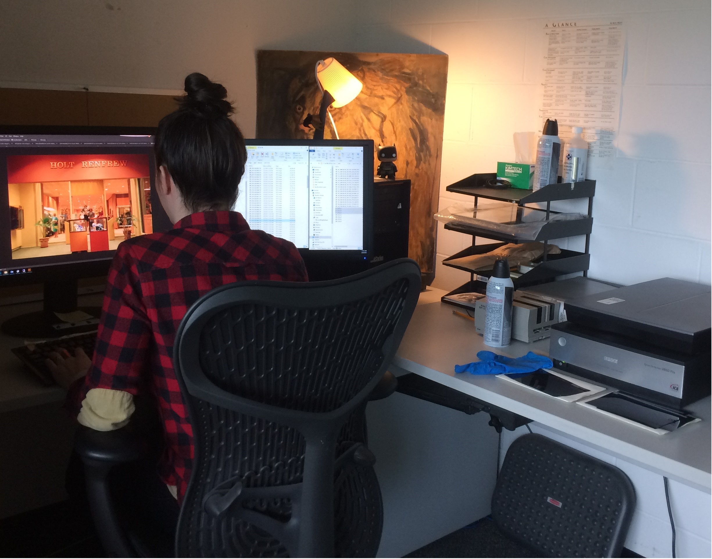 The Archives' Digitization Technician at work. Photo by Bronwyn Smyth