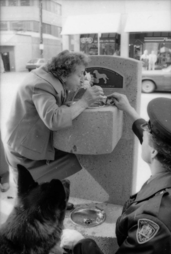 Theresa Galloway drinking from fountain at unveiling ceremony, 1986. Reference code: COV-S477-3-F111-: CVA 775-189-: CVA 775-189.24