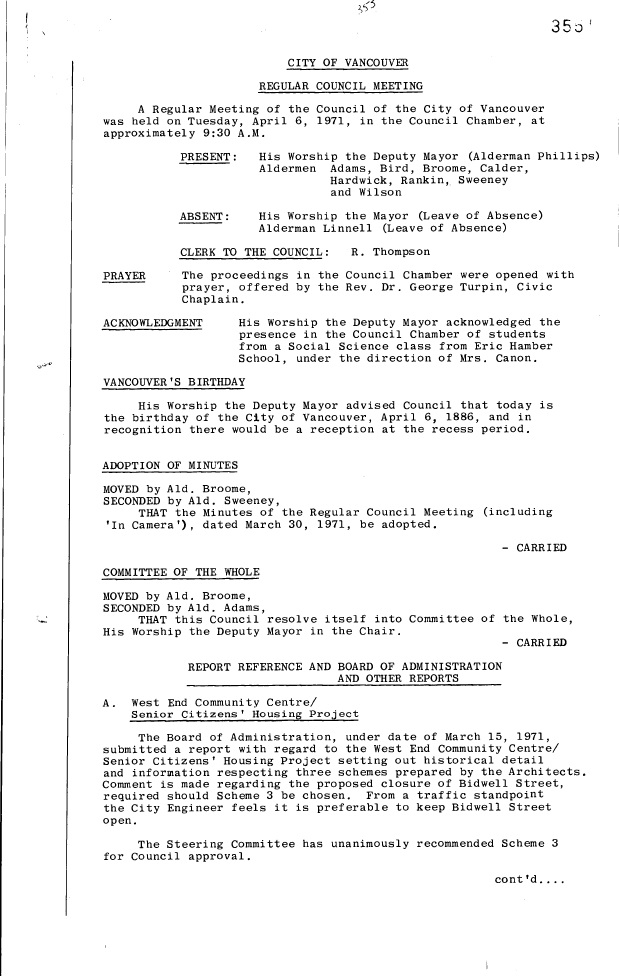 First page of Council meeting minutes, Incorporation Day, April 6, 1971
