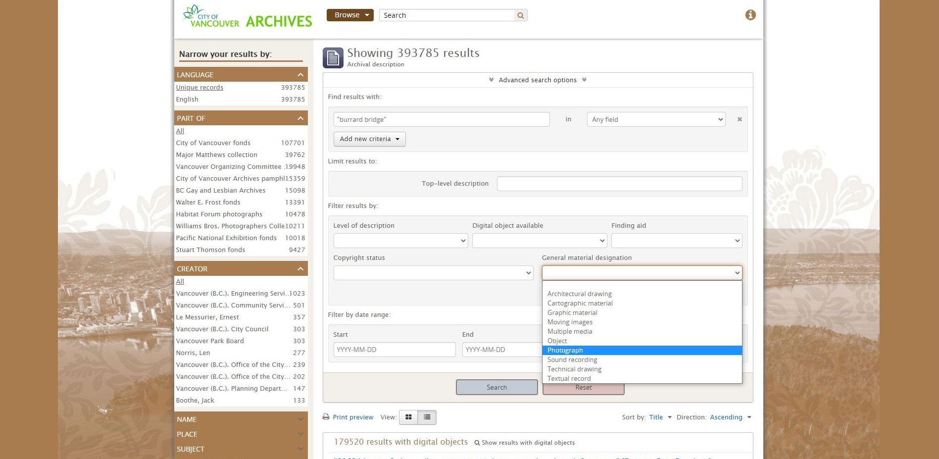 Screen shot of the advanced search page on our database, highlighting the General Material Designation filter