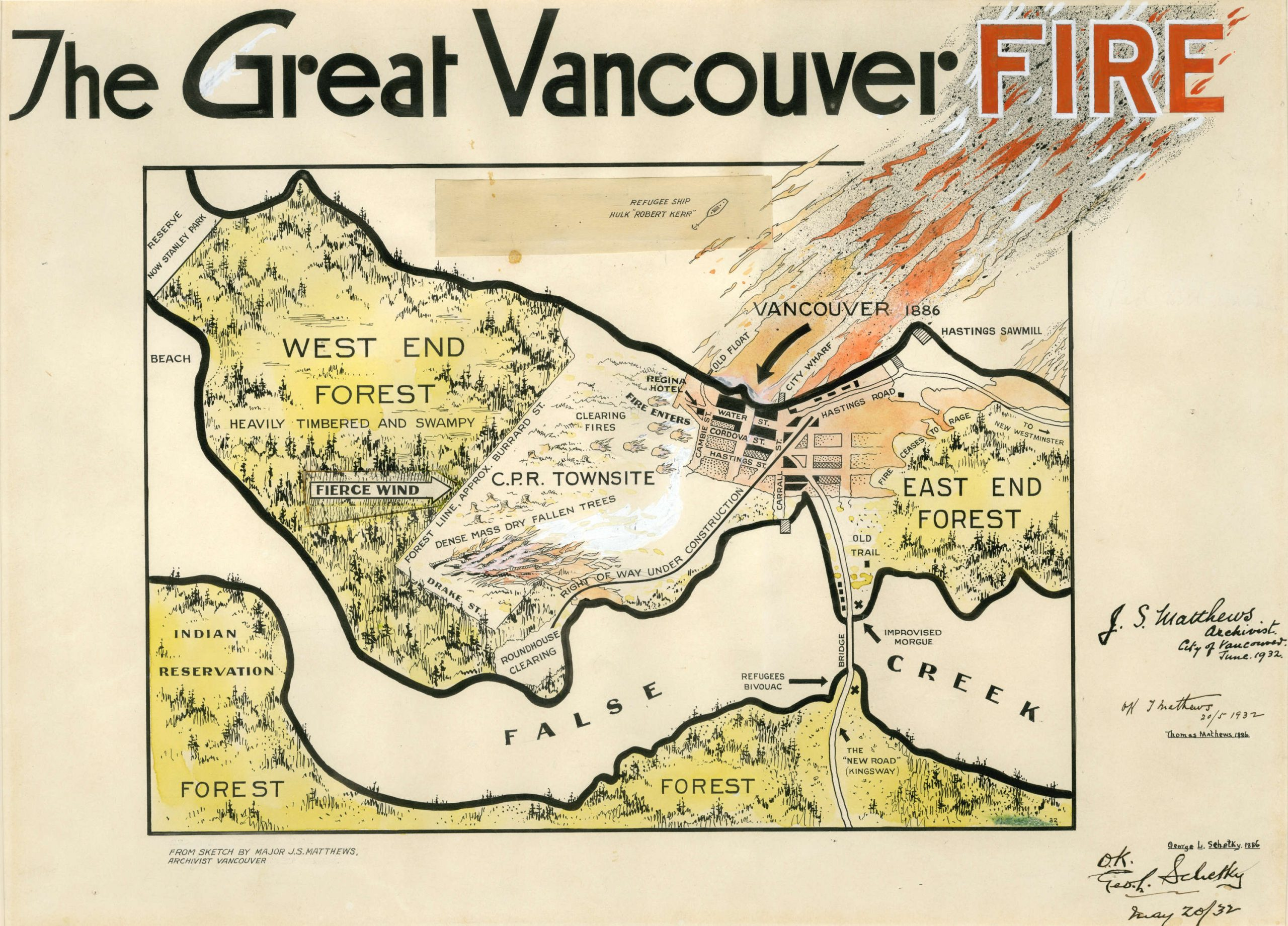 The Great Vancouver Fire. Created by Major J.S. Matthews. 1932. Reference code AM1562-: 75-54