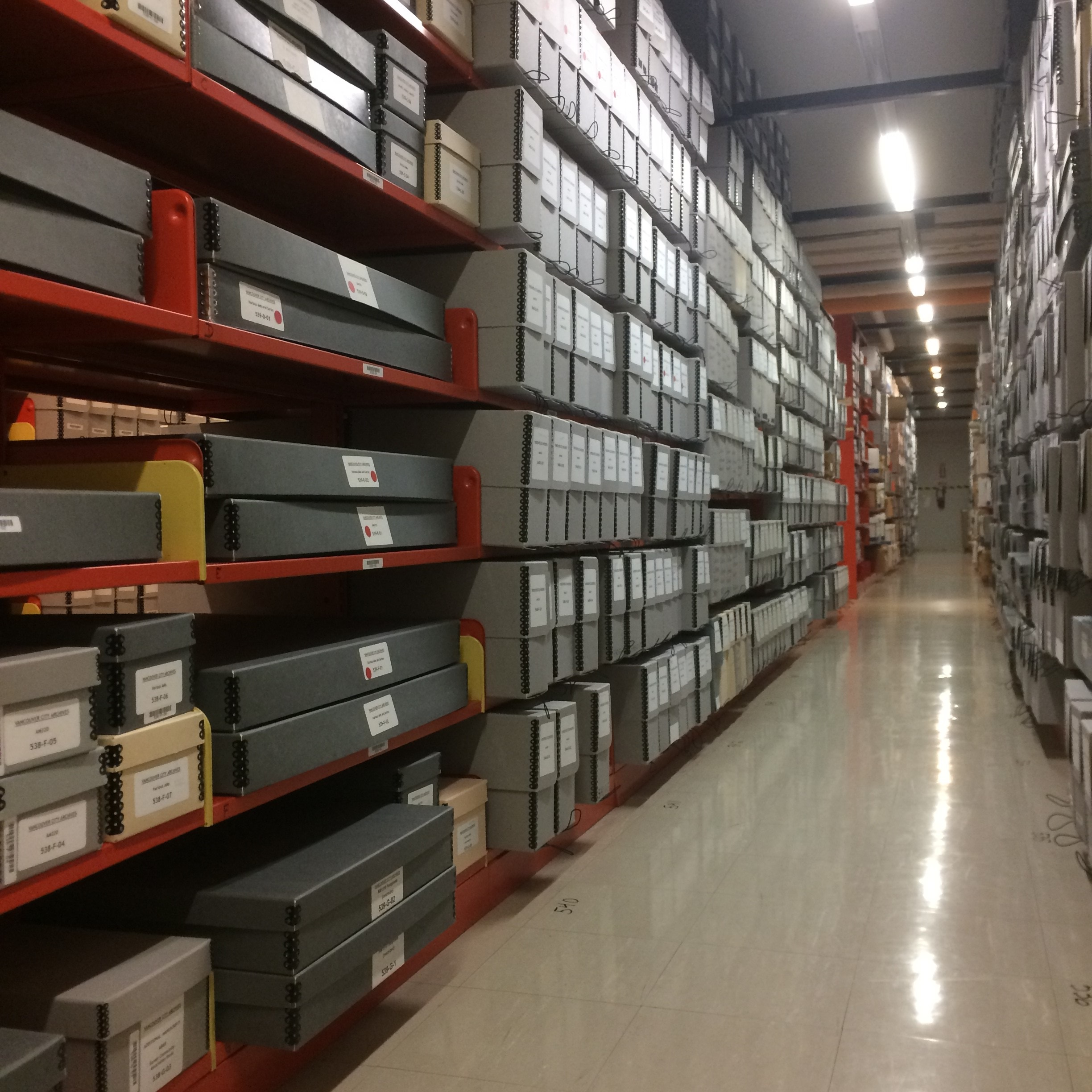 A peek into the vault at the City of Vancouver Archives. Photo by Bronwyn Smyth