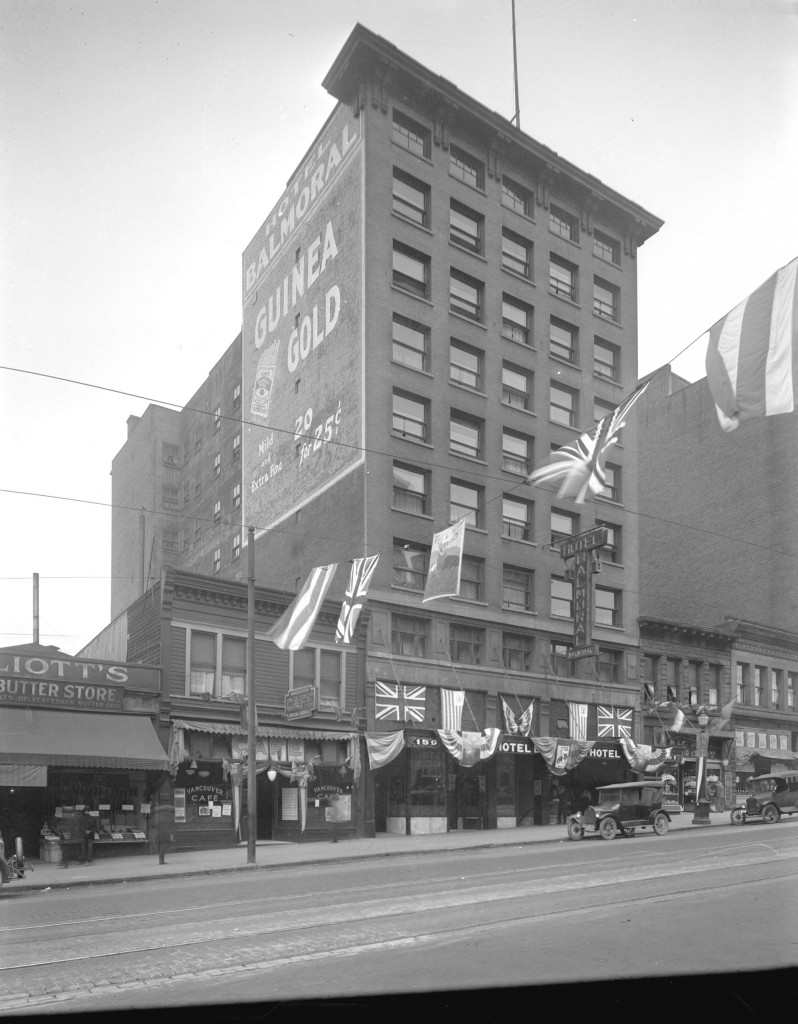 Archival photograph selected by Amberlee Pang for the Merging Time exhibit. Hotel Balmoral, Hastings Street, c. 1926. Reference code: AM54-S4-: Hot N35.