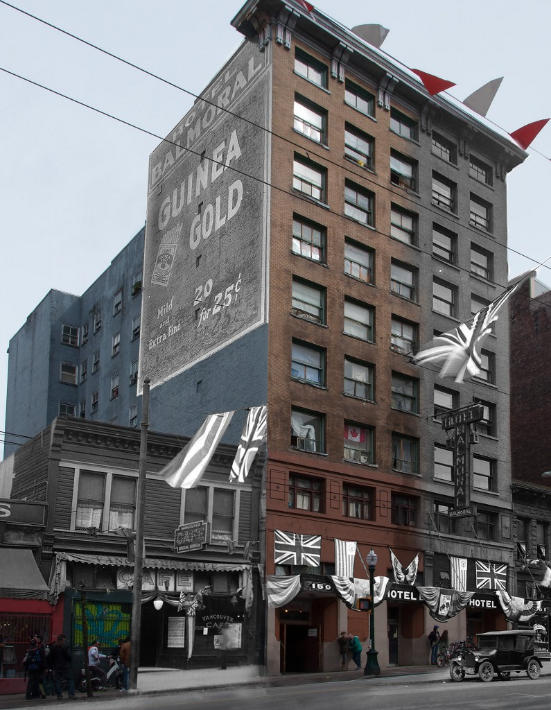 Digital composite by Amberlee Pang, c.1926/2015. Hotel Balmoral, Hastings Street, incorporating Archives image AM54-S4-: Hot N35.