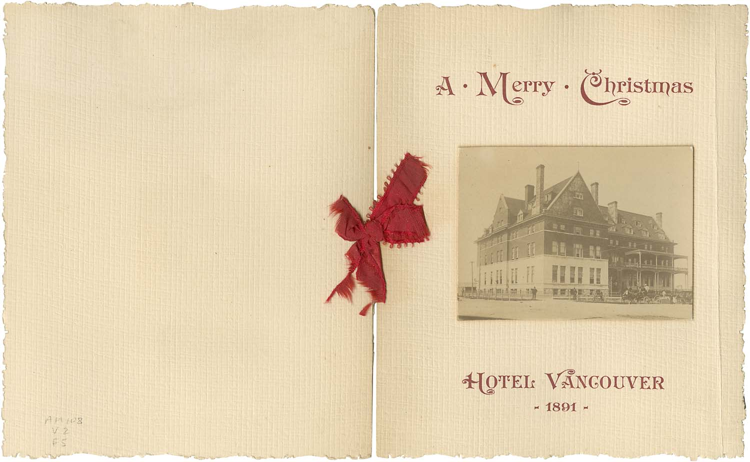 Cover of Christmas menu for Hotel Vancouver, 1891