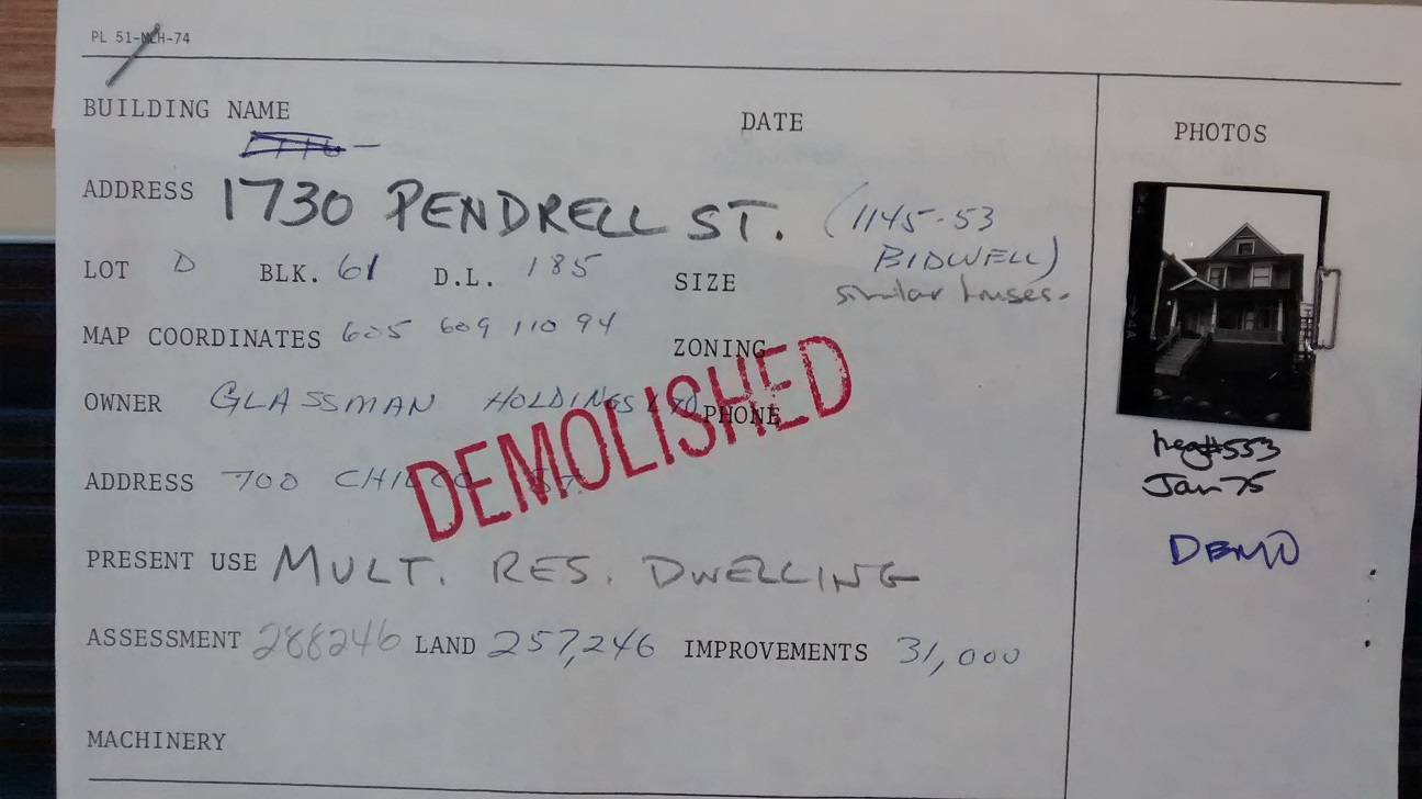 Part of form for1730 Pendrell Street, from file COV-S682-F206 Pendrell Street